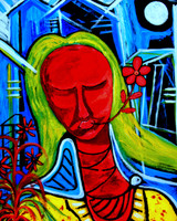 "PEACE WOMAN. Digital reproduction retouched and mounted on hardboard size 8"" x 10"""