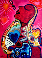 "Love and Music. Mixed media on canvas 30"" x 40"""