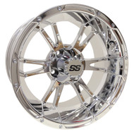 RX342 14x7 Golf Cart Wheel, Chrome Finish