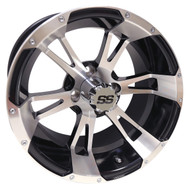 RX340 14x7 Golf Cart Wheel, Machined with Gloss Black