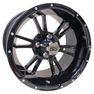 RX341 14x7 Golf Cart Wheel, Gloss Black