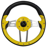 Aviator 4 Steering Wheel, Yellow/Brushed Aluminum