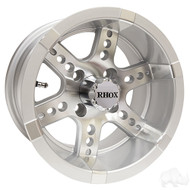 RHOX RX250 12x7 Golf Cart Wheel, Machined with Silver