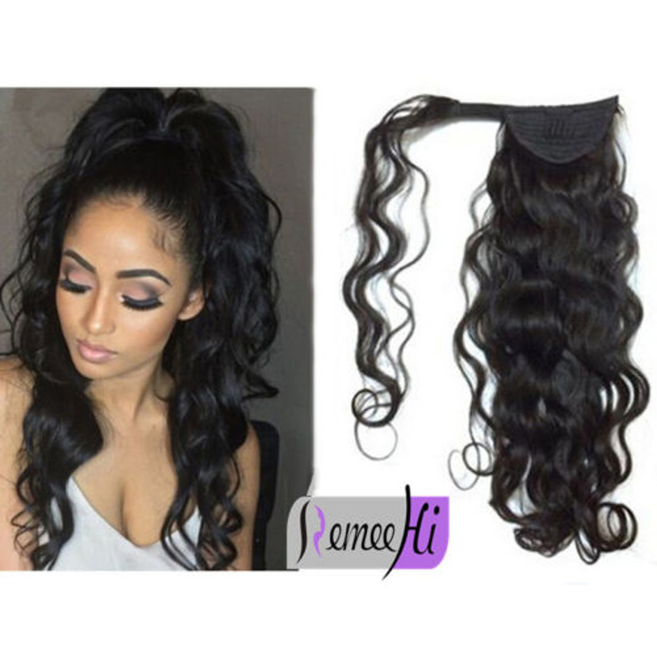 Remeehi straight remy human hair clip ponytails 100g human hair remeehi curly wave remy human hair clip in ponytails 100g human hair extensions pmusecretfo Gallery