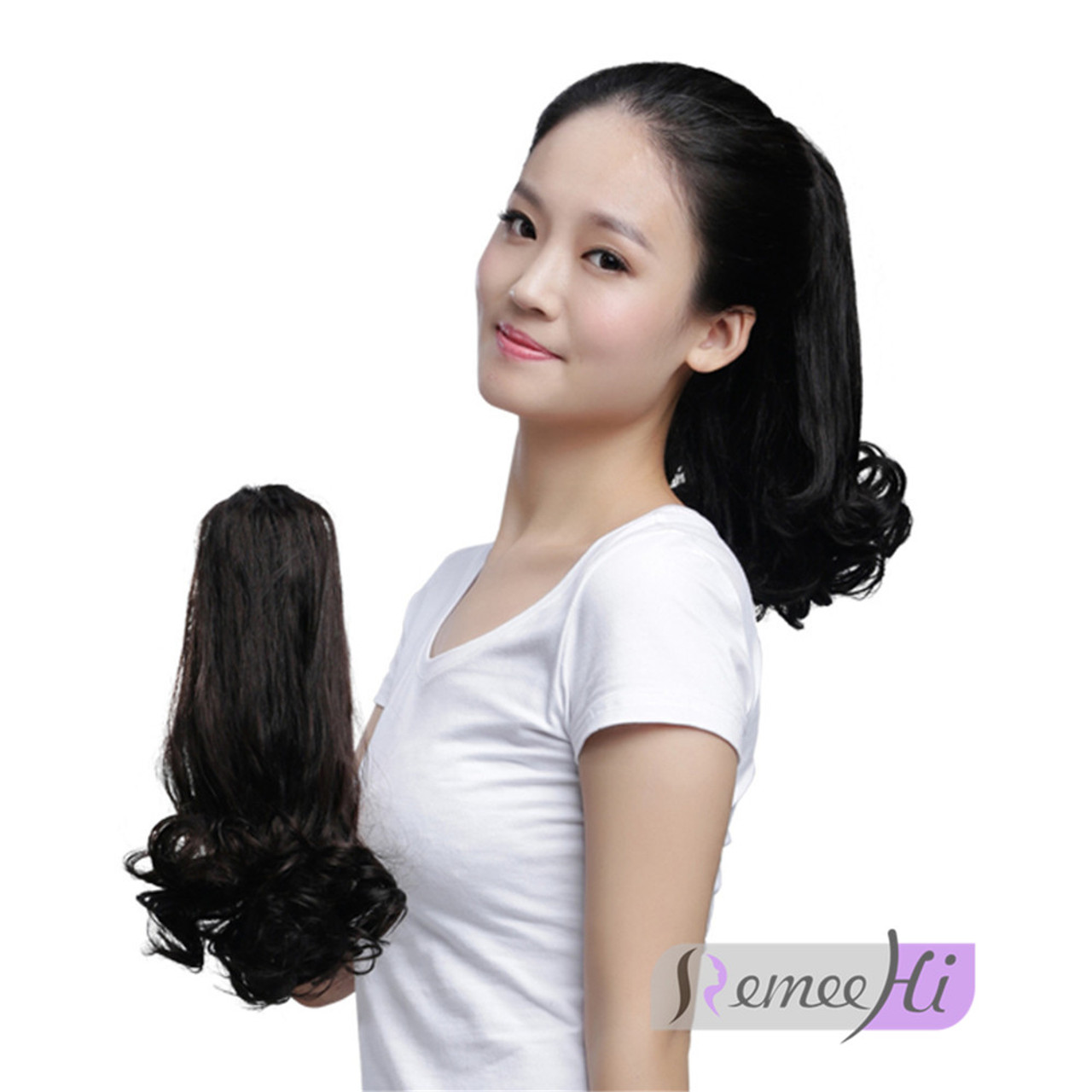 Remeehi tail waves hair pieces jaw claw clip in ponytail hair remeehi tail waves hair pieces jaw claw clip in ponytail hair extensions 100 real human pmusecretfo Images