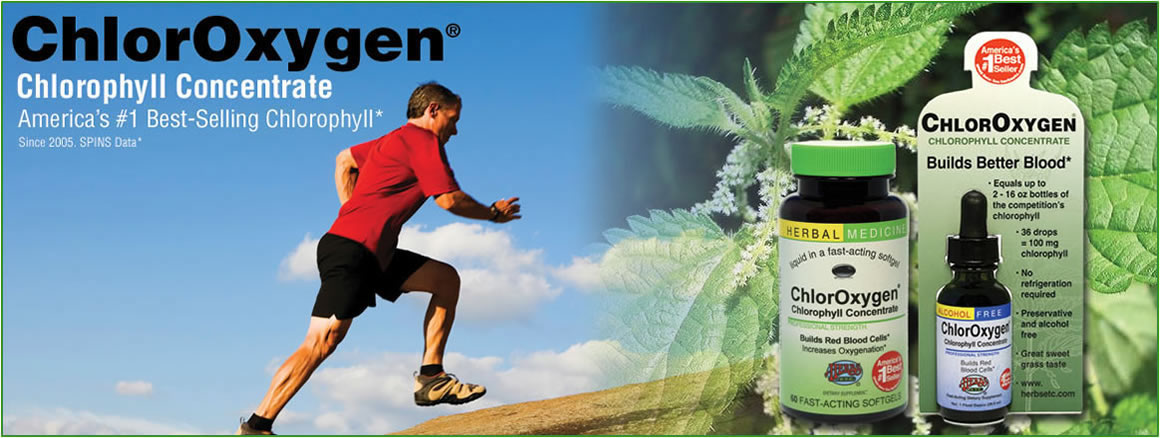 ChlorOxygen® Chlorophyll Concentrate Builds red blood cells. Increases hemoglobin's capacity to capture oxygen in the lungs and distribute it throughout the body. Helpful in high altitude situations.