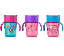 Avent 9 oz My Natural Drinking Cup 12 mth + Pink Flowers