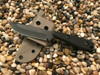 Wolf Drop Point,Plain Edge, Black Textured G10 Handle with Flat Dark Earth G10 Liner, Black Finish