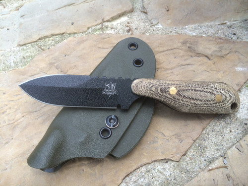 Talon B Spear Point, OD Green Canvas Micarta Handles,  Black Finish Plain Edge