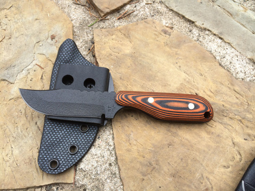 Talon E Bowie, Orange/Black G10 Handle, Black Plain Edge