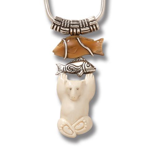 Fossilized Walrus and Mammoth Ivory Polar Bear Pendant, Handmade Silver - Bear with Fish