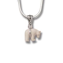 Ancient Ivory Polar Bear Pendant Silver, Handmade - Zuni Bear