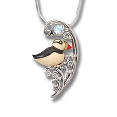Mammoth Tusk Ivory Puffin Necklace, 14kt Gold Fill and Rainbow Moonstone - Puffin in the Waves
