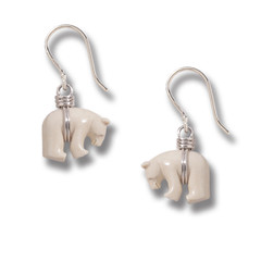 Mammoth Ivory Polar Bear Earrings, Handmade Silver - Zuni Bear Earrings