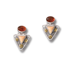 Walrus Fossilized Ivory Amber Triangle Earrings, 14kt Gold Fill and Handmade Silver - Flower Triangle