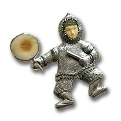 Fossilized Walrus Ivory Pin or Pendant, Handmade Silver - Eskimo Drummer Boy