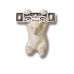 Mammoth Ivory Polar Bear Pin or Pendant, Handmade Silver - Hanging Bear