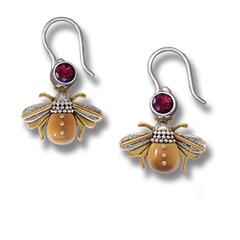14kt Gold Fill Garnet Fossilized Ivory Silver Bee Earrings, Handmade - Bees