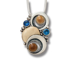Fossilized Walrus Ivory and Blue Topaz Silver Moon Necklace – Double Eclipse