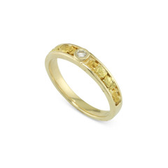 14 Karat Yellow 4x3 MM Natural Gold Nugget Channel Ring Tapered With .08 CT VS2 H Color Diamond Size 10