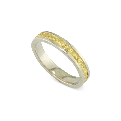 925 Silver 4x2 MM Natural Gold Nugget Channel Ring Tapered Size 10