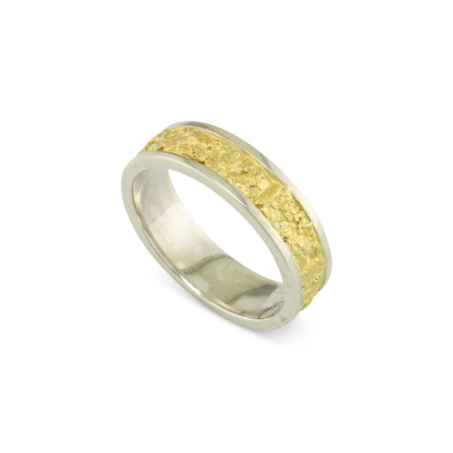 925 Silver 6 MM Natural Gold Nugget Channel Ring Straight Size 10