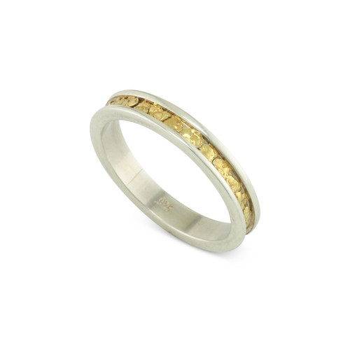 925 Silver 3 MM Natural Gold Nugget Channel Ring Straight Size 5.75