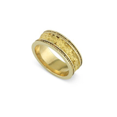 14 Karat Yellow 8MM Natural Gold Nugget Channel Rope Ring Straight Size 11