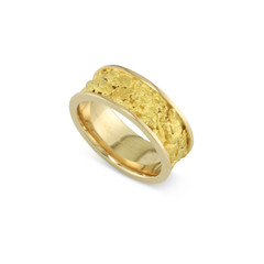 14 Karat Yellow 8 MM Natural Gold Nugget Channel Ring Straight Size 8.25