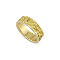 14 Karat Yellow 6 MM Natural Gold Nugget Channel Ring Straight Size 6.25