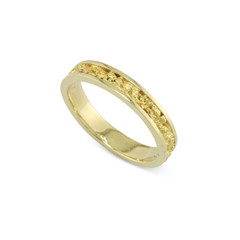 14 Karat Yellow 4 MM Natural Gold Nugget Channel Ring Straight Size 10.5