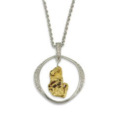 1.2 DWT SILVER NUGGET PENDANT WITH CZ