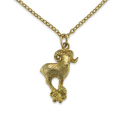 Dall Sheep Natural Gold Nugget Pendant With 14 Karat Gold Bail and Display Chain