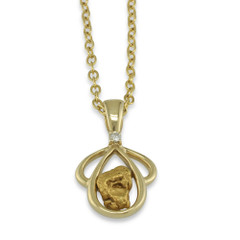 1.30 DWT Natural Gold Nugget Pendant With 14 Karat Yellow Gold Bail and Display Chain