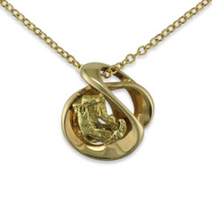 3.2 DWT Natural Gold Nugget Pendant With 14 Karat Yellow Gold Bail and Display Chain
