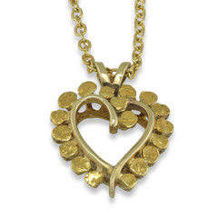 14 Karat Yellow Natural Gold Nugget Heart Pendant with 14 Karat Yellow Gold Bail and Display Chain