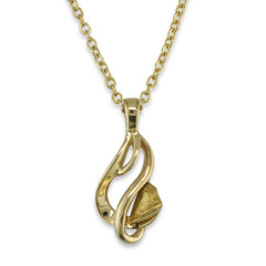 1.300 DWT Natural Gold Nugget Pendant With 14 Karat Yellow Gold Bail and Display Chain