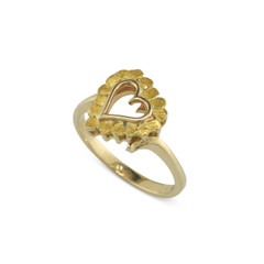 14 Karat Yellow Lady's Natural Gold Nugget Heart Ring Size 4.75
