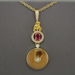 Sheep Horn, .8dwt Natural Alaskan Gold Nugget, .88ct Pink Sapphire, .25 ctw SI G Diamond.