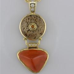 18kt 17.37 Spesserite Garnet Chan Frazier design, with whale bone,.04ct citrine .08ctw SI G Diamonds w/Gold filled chain