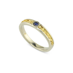 14 Karat White 4x2 MM Natural Gold Nugget Channel Ring Tapered Size 10.25 With .13 CT 3 MM A Grade Diamond cut Sapphire