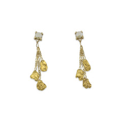 Quartz and Alaska Gold Nugget dangle earrings