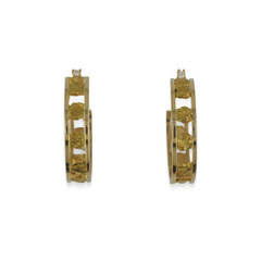 14KY ALASKA GOLD NUGGET HOOP EARRINGS WITH DIAMONDS