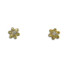 SILVER FLOWER EARRINGS WITH ALASKA GOLD NUGGETS AND DIAMONDS