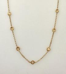 """14 Karat Rose Gold 1.25 CTW Diamond necklace 25"""" Long."""