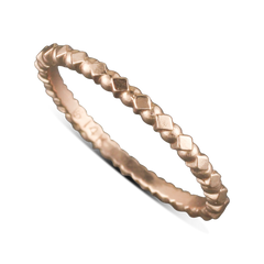 14 Karat Rose Gold Diamond And Circle Pattern Stack-able Ring Size 6.25