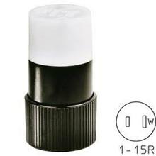Bryant 9755n Straight Blade Connector, 15A, 125V, Black/White