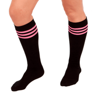 Black/Dark Pink Tube Socks