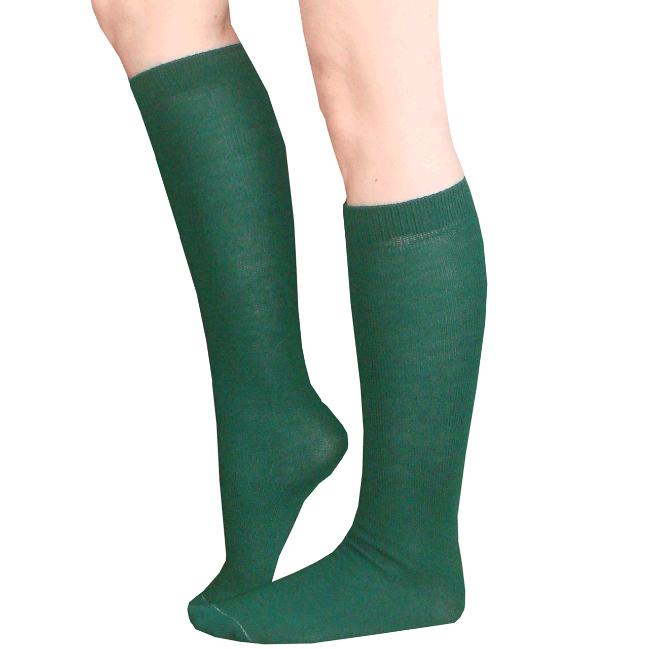 thin dark green knee highs