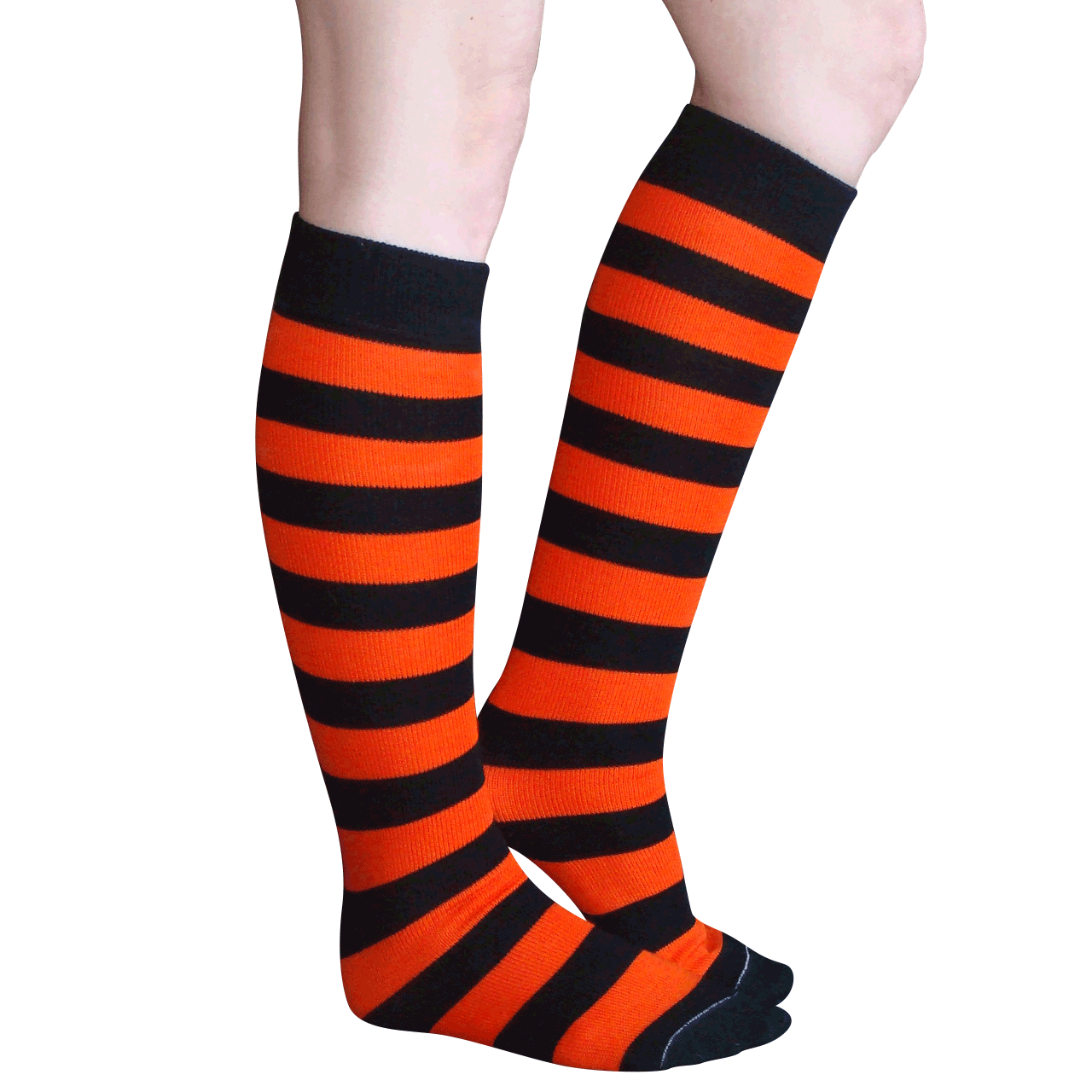 The black and orange stripes on our quality socks create a striking contrast and a look that is ideal for brightening up a simple black outfit or going the extra mile with your Halloween costume. Size: Women's 7 5/5(5).